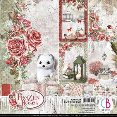"""Ciao Bella - Collection de papier 12"""" X 12""""  « Frozen Roses» 12 feuilles recto-verso"""
