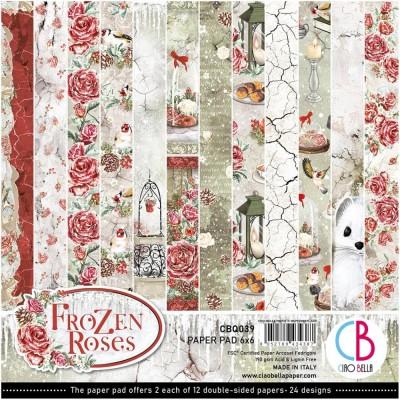 """Ciao Bella - Collection de papier «Frozen Roses»  6"""" X 6"""" recto-verso 24 feuilles"""