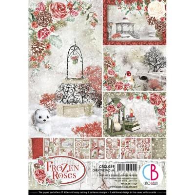 """Ciao Bella - Collection de papier 8.3"""" x 11.7""""  «Frozen Roses» 9 feuilles recto-verso"""