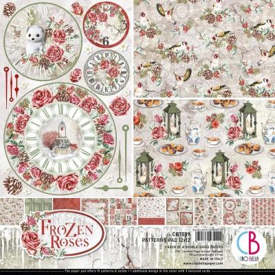 """Ciao Bella - Collection de papier 12"""" X 12"""" recto-verso 8 feuilles «Frozen Roses»"""