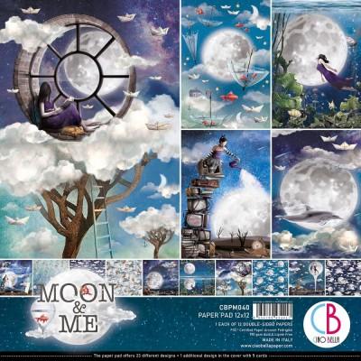 """Ciao Bella - Collection de papier 12"""" X 12""""  « Moon & Me» 12 feuilles recto-verso"""