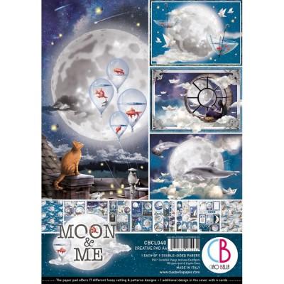 """Ciao Bella - Collection de papier 8.3"""" x 11.7""""  «Moon & Me» 9 feuilles recto-verso"""