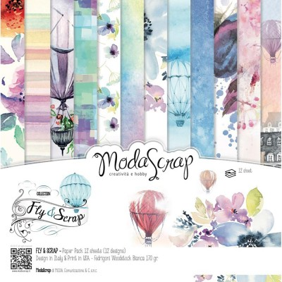 "Elizabeth Craft - «Fly and scrap» ensemble de papier Moda Srap 12 feuilles 6"" X 6"""