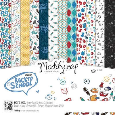 "Elizabeth Craft - «Back to school» ensemble de papier Moda Srap 12 feuilles 12"" X 12"""