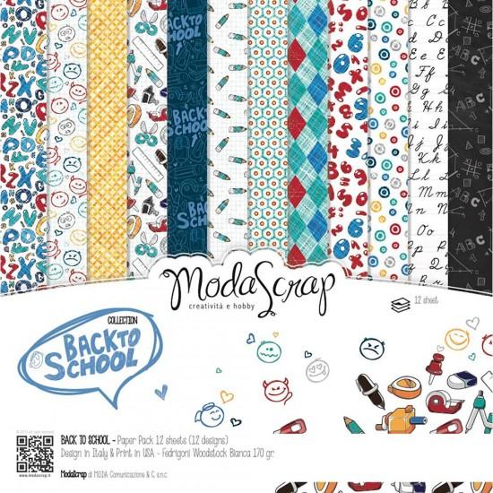 "Elizabeth Craft - «Back to school» ensemble de papier Moda Srap 12 feuilles 12"" X 12"""