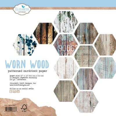"""Elizabeth Crafts - Ensemble de papier «Worn Wood» 12 """"X12"""" recto-verso 12 feuilles / Pqt"""