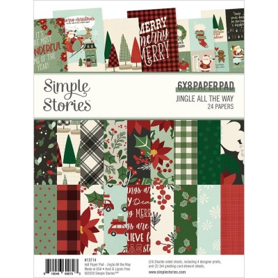 """Simple Stories - Papier 6"""" X 8""""  collection «Jingle All The Way» 24 pages recto-verso"""