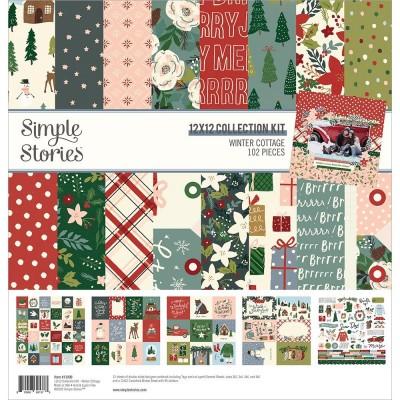 """PRÉCOMMANDE - Simple Stories - Ensemble de papier «Winter Cottage» 12 """"X12"""" recto-verso 12 feuilles / Pqt"""