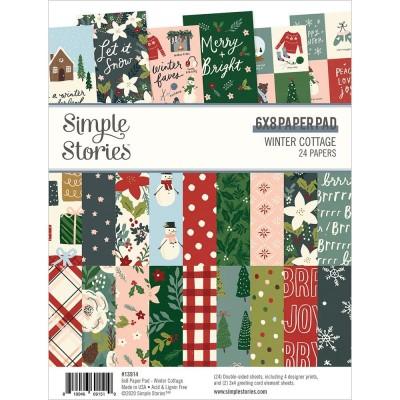 """PRÉCOMMANDE - Simple Stories - Ensemble de papier «Winter Cottage» 6""""X8"""" recto-verso 24 feuilles / Pqt"""