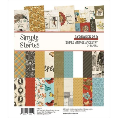 "Simple Stories - Ensemble de papier «Simple Vintage Ancestry» 6""X8"" recto-verso 24 feuilles / Pqt"