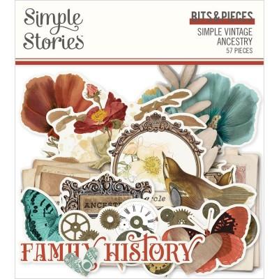 Simple Stories - Éphéméras «Ancestry Bits & Pieces» 57 / Pqt