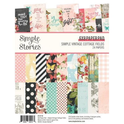 "Simple Stories - Ensemble de papier «Simple Vintage Cottage Fields» 6""X 8"" recto-verso 24 feuilles / Pqt"