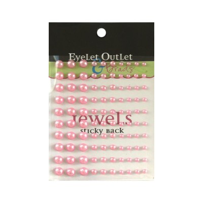 Eyelet outlet - «Adhesive Pearls» couleur «Pink» 100/ emballage