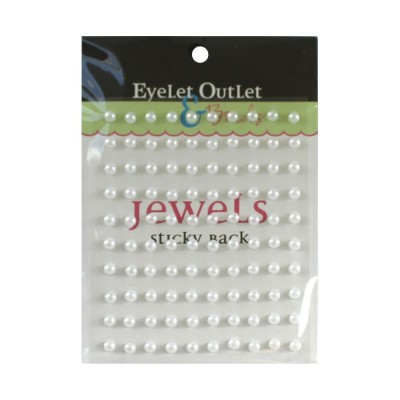 Eyelet outlet - «Adhesive Jewels» 5 mm couleur «White» 100/ emballage