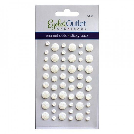 Eyelet outlet -  Enamel Dots autocollant «Glitter White» 54 / emballage