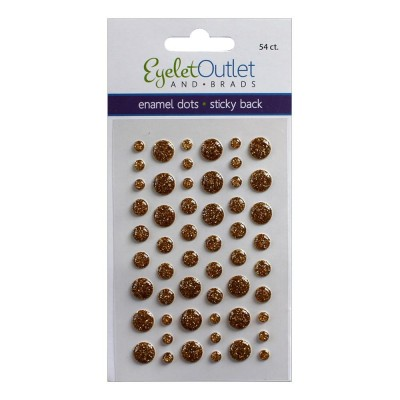Eyelet outlet -  Enamel Dots autocollant «Glitter Gold» 54 / emballage
