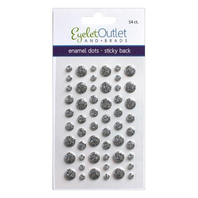Eyelet outlet -  Enamel Dots autocollant «Glitter Silver» 54 / emballage