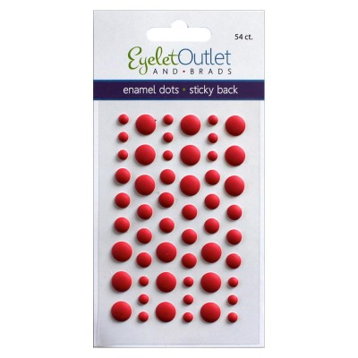 Eyelet outlet -  Enamel Dots autocollant «Matte Red» 54 / emballage