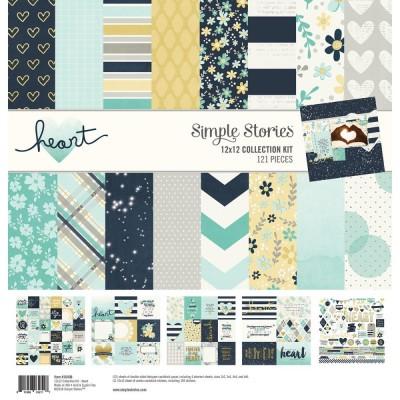 """Simple Stories - ensemble de papier «Heart» 12"""" X 12"""" recto-verso 12 feuilles"""