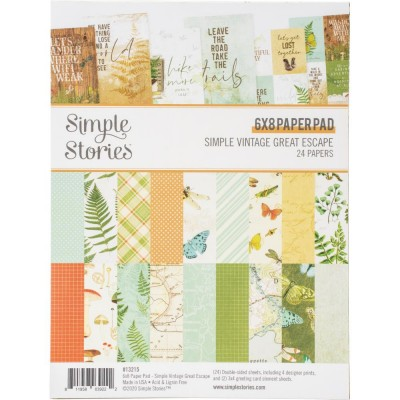 "Simple Stories - Ensemble de papier «Great Escape» 6""X8"" recto-verso 24 feuilles / Pqt"