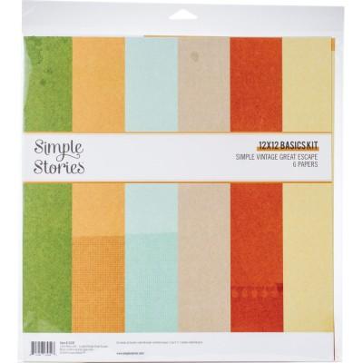 """PRÉCOMMANDE - Simple Stories - Ensemble de papier «Great Escape basic» 12 """"X12"""" recto-verso 6 feuilles / Pqt"""