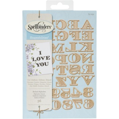 Spellbinders - Dies «Etched Alphabet and Numbers» ensemble de 36 pièces