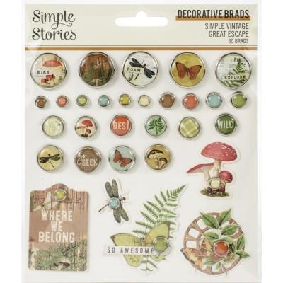 PRÉCOMMANDE - Simple Stories - Brads «Great Escape» 30 / Pqt