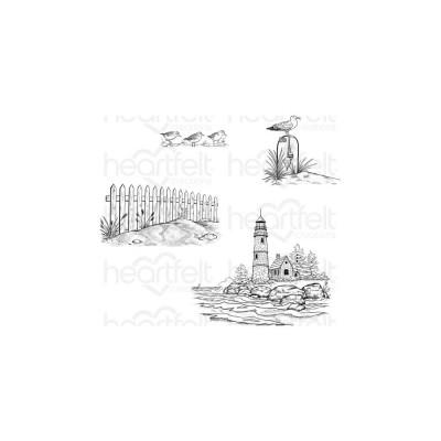 Heartfelt Creations - Cling Rubber Stamp Set-modèle «Sea Breeze Harbor» 4 pièces