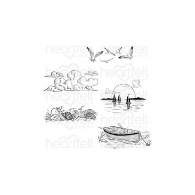 Heartfelt Creations - Cling Rubber Stamp Set-modèle «Sand and Sunset» 5 pièces