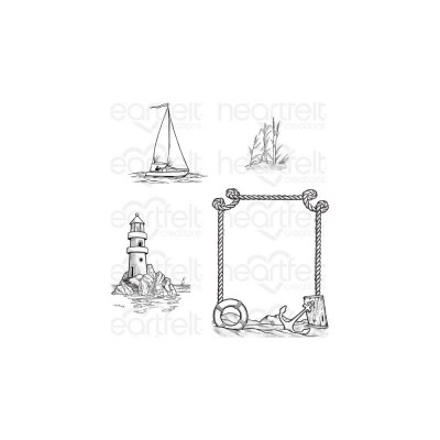 Heartfelt Creations - Cling Rubber Stamp Set-modèle «A Day At Sea» 4 pièces