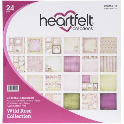 """PRÉCOMMANDE- Heartfelt Collections - Bloc de papier collection «Wild Rose» 12"""" X 12""""  24 feuilles"""
