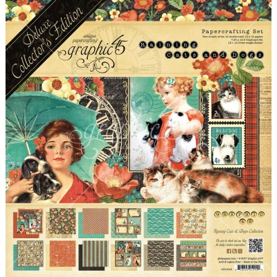 "Graphic 45 - «Raining cats and dogs» Ensemble de papier de luxe  12"" X 12""  24 feuilles"