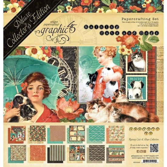 """Graphic 45 - «Raining cats and dogs» Ensemble de papier de luxe  12"""" X 12""""  24 feuilles"""
