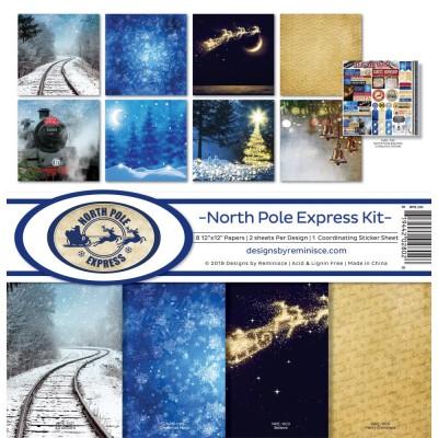 """Reminisce - Collection de papier «North Pole Express» 12""""X 12"""" 8 feuilles"""