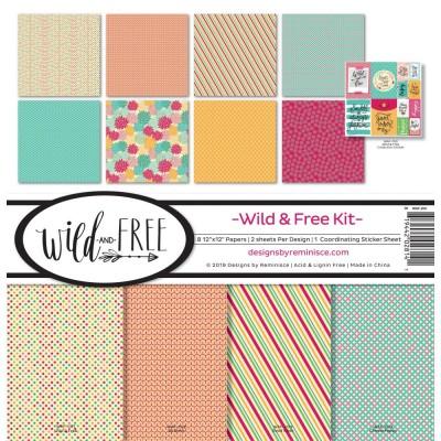 """Reminisce - Collection de papier «Wild & Free» 12""""X 12"""" 8 feuilles"""