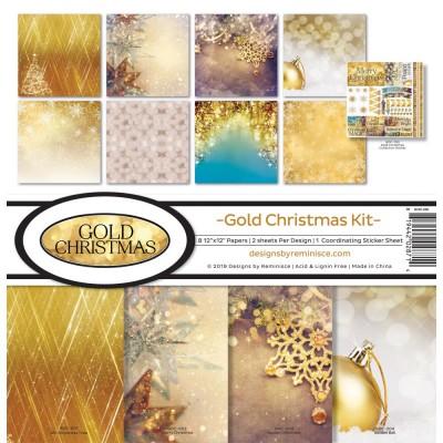 """Reminisce - Collection de papier «Gold Christmas» 12""""X 12"""" 8 feuilles"""