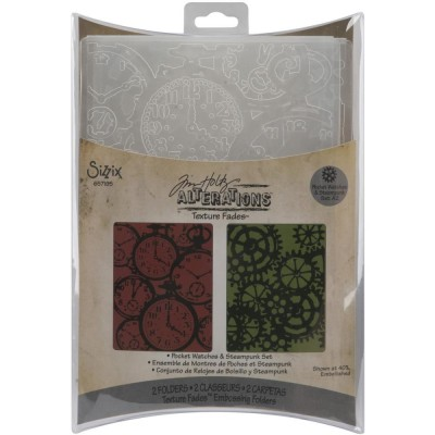 Sizzix - Tim Holtz «embossing folder» ensemble «Clock & Steampunk»