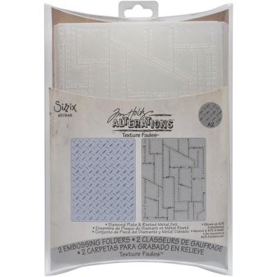Sizzix - Plaques à embosser 3D de Tim Holtz «Diamond Plate & riveted Metal» 2 pièces