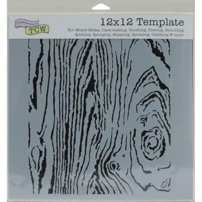"TCW - Stencil modèle ""Woodgrain"" 12"" X 12"""