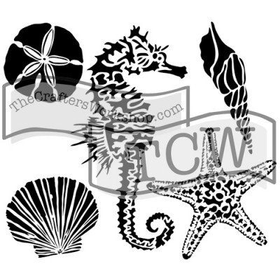 """TCW - Stencil modèle «Sea Creatures» 12"""" X 12"""""""