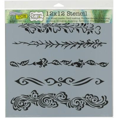 """TCW - Stencil modèle «Ornate Borders» 12"""" X 12"""""""
