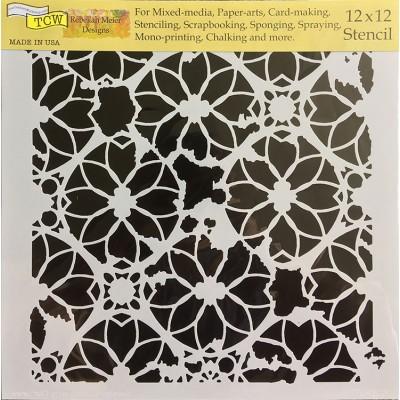 "TCW - Stencil modèle «Distressed Lace» 12"" X 12"""