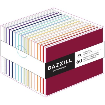 "Bazzill- «Value Pack Cards W/Envelopes» 4.25""X5.5"" 60/Pkg-Brights"