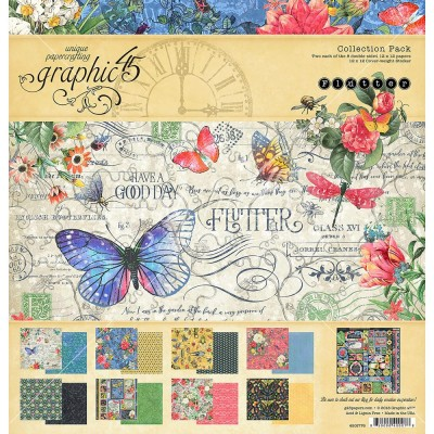 """Graphic 45 - «Flutter» Ensemble de papier 12"""" X 12""""  16 feuilles"""