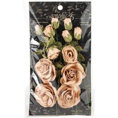 Graphic 45 - Fleur «Bouquet Collection» couleur «Precious Pink» 12 pièces