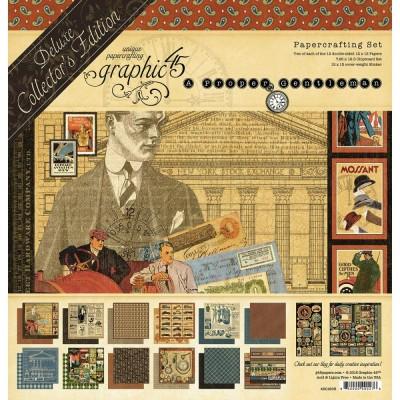 "Graphic 45 - «Gentleman» Ensemble de papier de luxe  12"" X 12""  24 feuilles"