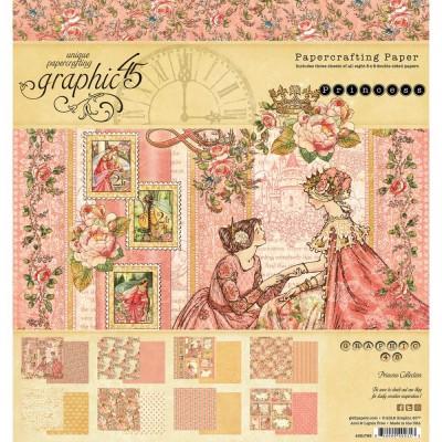 """Graphic 45 - «Princess» bloc de papier 8"""" X 8"""" 24 feuilles"""
