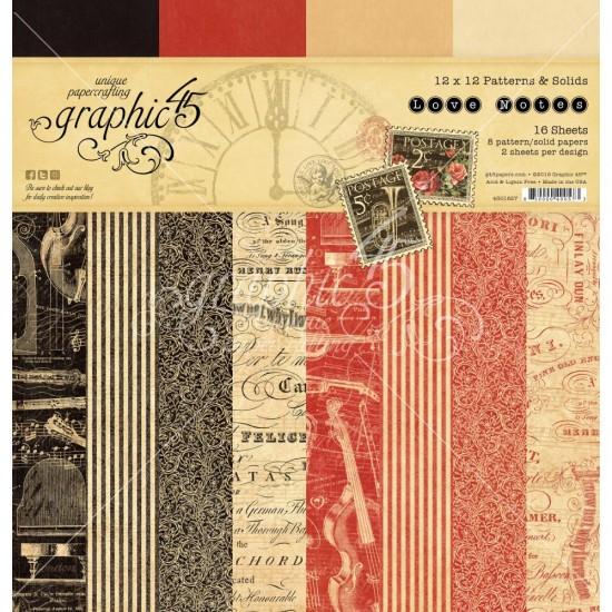 """Graphic 45 - Ensemble de papier «Love Notes»  12"""" X 12""""  16 feuilles"""