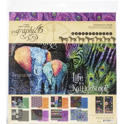"""Graphic 45 - «Kaleidoscope» Ensemble de papier 12"""" X 12""""  16 feuilles"""