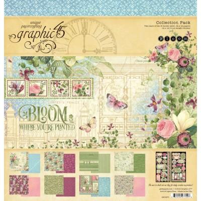 """Graphic 45 - Ensemble de papier «Bloom»  12"""" X 12""""  16 feuilles"""